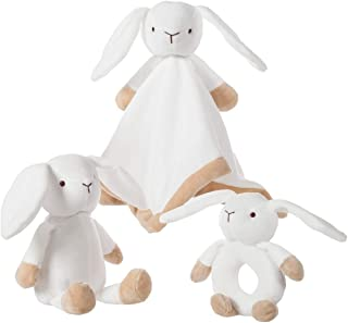 Apricot Lamb 3 PCS Set Baby Security Blankets with Plush Stuffed Animals and Baby Hand Bells Rattle for Baby ( Bunny )