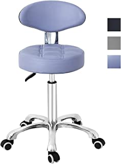 Grace & Grace Pneumatic Height Adjustable Rolling Swivel Stool with Comfortable Seat Heavy Duty Metal Base for Salon, Massage, Shop and Kitchen (Purple)
