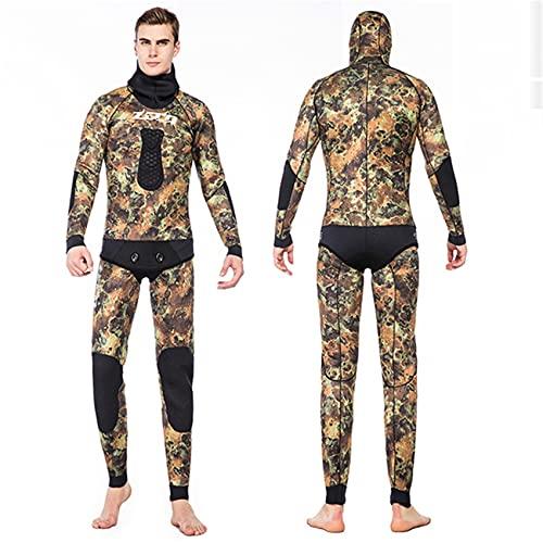 FR&RF Traje de baño de 5 mm para hombre, traje de buceo dividido para pesca submarina y surf para agua fría, marrón, L