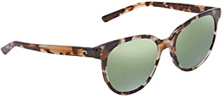 Costa ISA210OGMGLP Womens Shiny Tiger Cowrie Frame Green Mirror Lens Square Sunglasses