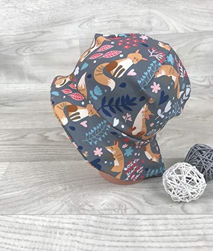 Sonnenhut inkl Nackenschutz 41-54 Jersey mütze fuchs blumen grau kopftuch, Sonnenschutz baby, Schirmmütze, sommermütze