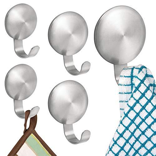 InterDesign AFFIXX crochets - crochets muraux autocollants en acier inoxydable brossé - lot de 5 patères de mur moyennes - argenté mat