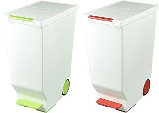 日本製 ダストボックス 平和工業 スライドペダルペール 45L 2個セット ゴミ箱 ごみ箱 おしゃれ (グリーン×レッド)
