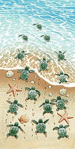 GEEZY Toalla de Playa de Microfibra Ligera y Grande, Diseño de Tortugas, 70 x 140 cm