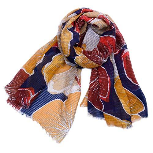 Térmica Bufandas Grandes flores de bombeo de algodón y lino Imprimir bufandas...