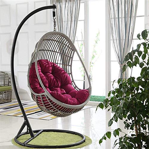 Cuscino per sedia a dondolo, cuscino per sedia a dondolo, cuscino per sedia a dondolo, in vimini rattan, a forma di uovo, per casa, giardino, sedia non inclusa (fucsia)