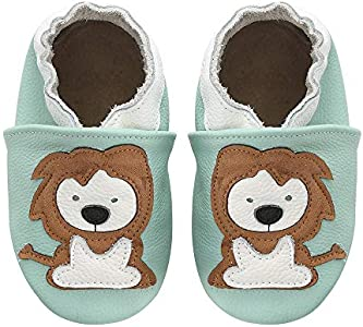 koshine - Zapatillas de bebé de piel suave, para aprender a andar, 0-3 años, color Verde, talla 18/19 EU