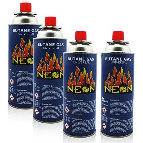 4x Gaskartuschen mit Ventil für Grill Lötlampe Campingkocher Gasheizung ★ Brenndauer bis zu 3h ★ Butangas MSF-1a 227g