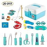 Twister.CK Childrens Doctors Kit, Kids Pretend Juego de rol Doctor Medical Set Toys con 20 Piezas Carry Case para niños pequeños, Azul