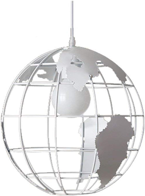 SGWH  Map Chandelier E27 Modern World Pendelleuchte Deckenleuchte Glasmalerei Schatten Durchmesser  20 cm, 30 cm, 40 cm, Wei, 30 cm