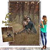 Personalized Custom Photo Customizable Family Image Customized Wedding Anniversary Picture Collage Woven Blanket Bed Throw Size Tapestry Wall Hanging