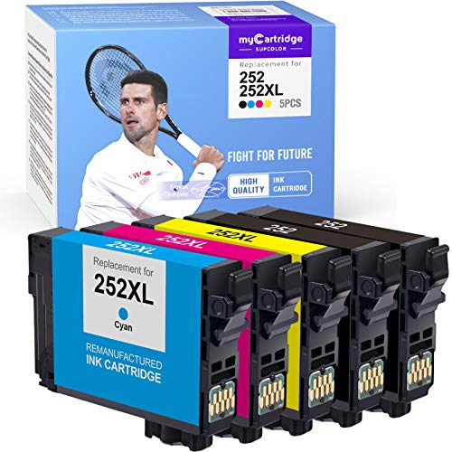 myCartridge SUPCOLOR Remanufactured Ink Cartridge Replacement for Epson 252XL 252 XL T252 T252XL for Workforce WF-3620 WF-3640 WF-7110 WF-7610 WF-7620 WF-7710 (2 Black, 1 Cyan, 1 Magenta, 1 Yellow)