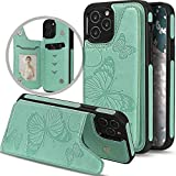 iPhone 12 Case with Card Holder,iPhone 12 Pro Wallet for Women/Girl,Vodico Cute Slim Thin Butterfly Leather Folio Flip Girly Wallet Purse Magnetic Full Body Protective Stand Phone Cover (Green)