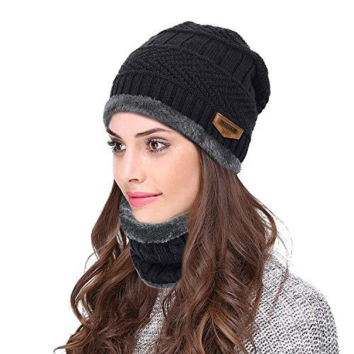 Wersoa Absolute Protection Winter Knit Beanie Cap Hat & Neck Warmer Scarf Set Woolen Cap for Men Women/Winter Cap Unisex (Black)