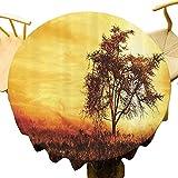 Room Decorations Collection Mantel redondo ornamentado Big Tree Silhouette Imagen de la Naturaleza en África Verano Tarde de Masai Mara Imagen Celebración Festival Amarillo Caqui Diámetro 71 pulgadas