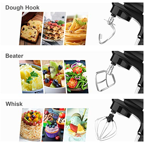 Stand mixer,Kuccu 5.5 Quart Tilt-Head, 660w Electric Kitchen mixer, 6-Speeds WithStainless Steel Bowl,Dough Hook,Whisk, Beater,Egg white separator (5.5-QT, Black)