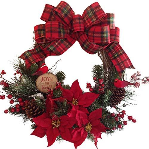 Joyibay Corona di Natale artificiale Elegante corona di decorazioni natalizie ghirlanda appesa per la decorazione della porta Accessori per decorazioni natalizie