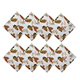 Newbridge Brilliant Autumn Double Border Thanksgiving Fabric Tablecloth, Fall Harvest Floral Tablecloths and...