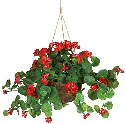 Nearly Natural 6609-RD 24in. Geranium Hanging Basket Silk Plant,Red