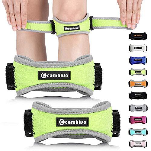 CAMBIVO 2 x Patella Kniebandage, Knieband, verstellbare Patella Band für Damen und Herren beim Sport, Wandern, Fitness, Volleyball (Grün)