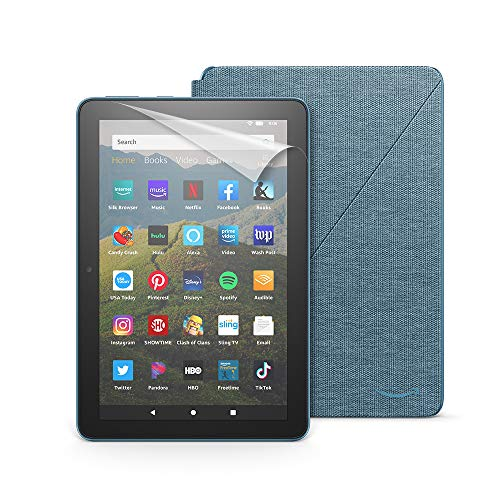 Fire HD 8 tablet, 32 GB, Twilight Blue+ Amazon Fire HD 8 Cover, Twilight Blue + NuPro Screen Protector, 2-pack