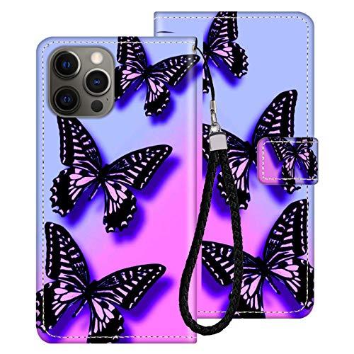 FAUNOW Funda tipo cartera para iPhone 12 Pro con tarjetero y tarjetero de piel sintética con compartimento para tarjetas de crédito y mariposa.