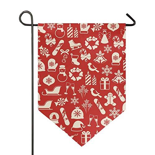 DEZIRO Tuin Vlag Kerstmis Speelgoed Winkelen Poinsettia Patroon Verticale Dubbele Zijde Yard Decor Kleurrijk Ontwerp voor Alle Seizoenen & Vakanties 12x18.5in 1 exemplaar