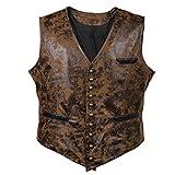 Sex icon Man Retro Punk Wind Leather Cowboy Jacket Vest (L, Brown)