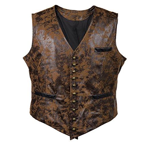 Sex icon Viktorianische Vagabond Steampunk Gothic Retro Wind Leder Cowboy Jacke Herren Weste - Braun - XX-Large