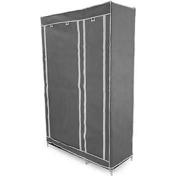 PrimeMatik - Armario ropero guardarropa de Tela Desmontable 110 x 45 x 175 cm Gris Doble con Puertas enrollables: Amazon.es: Electrónica