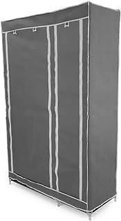 comprar comparacion PrimeMatik - Armario ropero guardarropa de Tela Desmontable 110 x 45 x 175 cm Gris Doble con Puertas enrollables