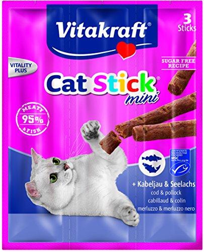 Vitakraft Snack pour Chats Cat-Stick Mini- Kabeljau & Saumon - Lot de 3 6g