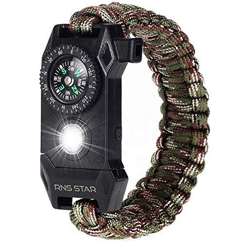 RNS STAR Paracord Survival Bracelet 6-in-1 - Hiking Gear Traveling Camping Gear Kit - 70% Bigger Compass LED SOS Emergency Function Flashlight,Fire Scrapper,Flint Fire Starter,Survival Knife (Camo_8)