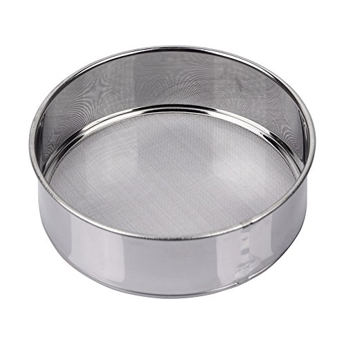 AMPSEVEN Tamis Fine Mesh Flour Sieve 60 Stainless Steel Round Sifter for Baking(6 Inch, 60m Mesh)