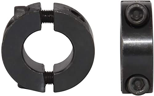 "AZSSMUK Double Split Clamp-On Shaft Collars of Metal 5/8"" Bore w/Set Screw,2-Piece"