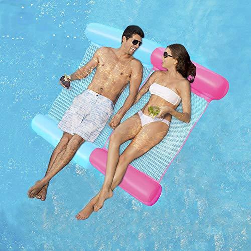 ECtury Aufblasbare Wasserhängematte, 4 in 1 Luftmatratze Pool Schwimmbett mit Netz, Aufblasbare Hängematte Loungesessel Pool Lounge Matratzen, Luftmatratze Schwimmmatratze für Erwachsene Kinder(Pink)