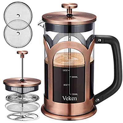 Veken French Press Coffee & Tea Maker, 304 Stainless Steel Heat Resistant Borosilicate Glass Coffee Press with 4 Filter Screens, Durable Easy Clean 100% BPA Free, 21oz, Copper