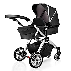 Pushchair 2 in 1,Upgrade Baby Stroller with Independent Seat and Bassinet Combo Pram,Foot muff and Cup Holder 7 Gifts,(Black)   1