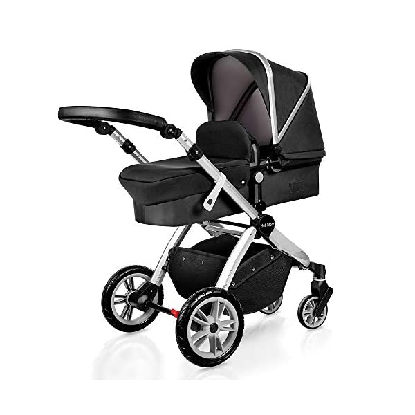 Pushchair 2 in 1,Upgrade Baby Stroller with Independent Seat and Bassinet Combo Pram,Foot muff and Cup Holder 7 Gifts,(Black) HOT MOM INTIMATE SERVICE: FBA prime service,free shipping, 2-year warranty period, accessories parts can be replaced and repaired,180 days unsatisfied full refund.Passed the United States baby stroller Standard Test ASTM F833-15. 7 FREE GIFTS:Stroller seat、bassinet、Rain Cover、mosquito net、Cup holder、Wrist band、car seat adapter.Reversible, you can face your mother, you can also face the outside world. UPGRADED MATERIAL:Say goodbye to Lycra fabric and Oxford fabric,use the upgraded down cotton fabric in the seat,bassinet and canopy design,which is specially designed for the newborn baby's comfort and more skin friendly.Sweet sleep for baby. 1
