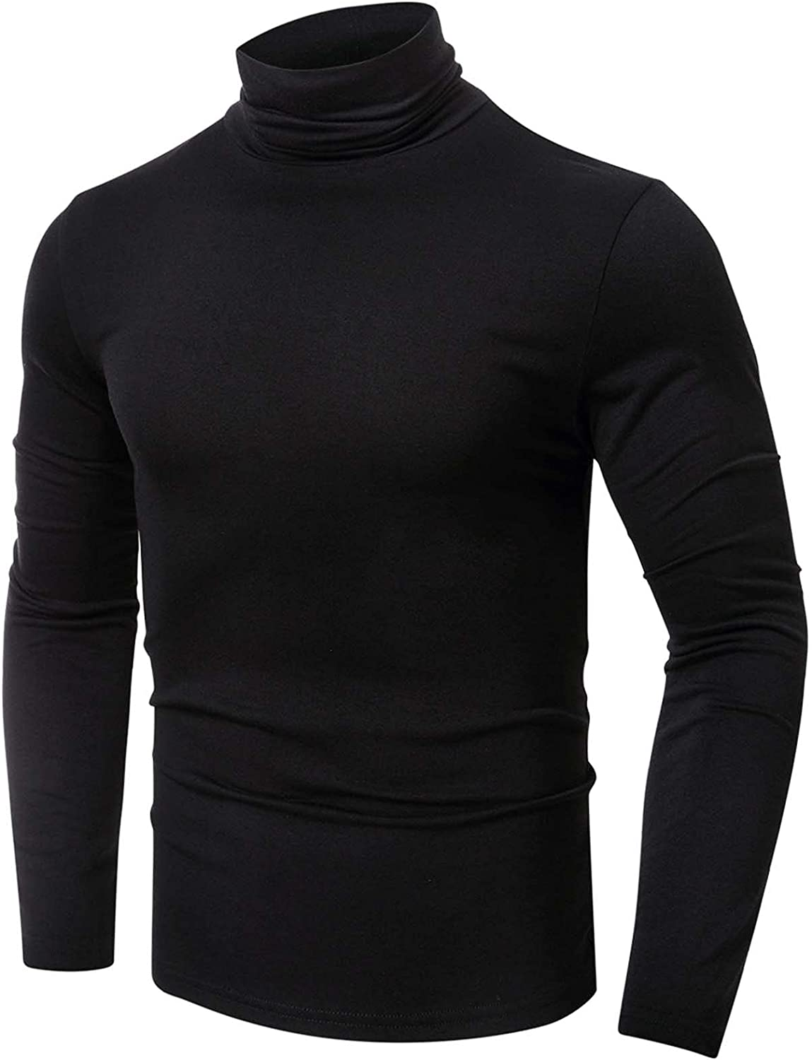 Bravetoshop Mens Turtleneck Pullover Tops Slim Fit Casual Fall Winter Solid Color Basic Long Sleeve T-Shirt