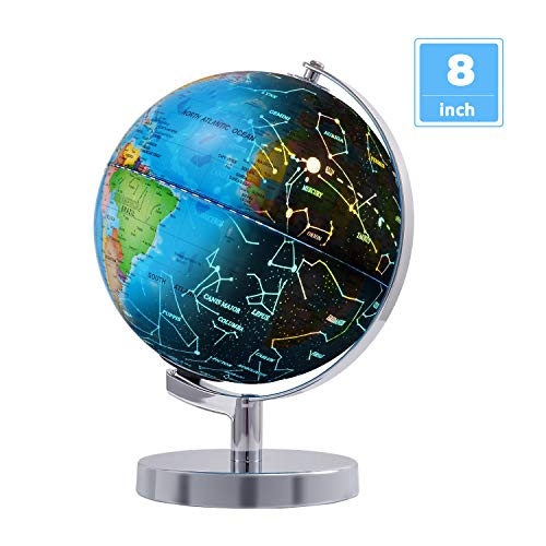 "Wizdar 8"" LED Illuminated Globe for Kids, 3 in 1 Interactive Educational World Globe with Stand,s, Blue Ocean Earth Globe with Political Map, Constellation Globe and LED Desk Nightlight"