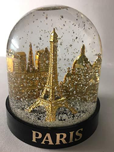 Vianaya Schneekugel Eiffelturm und andere Denkmaler von Paris – mittlere Größe 10 cm – Sockel schwarz aus hochwertigem Kunststoff – Kugel mit goldenen Denkmaler – klassischer weißer Schnee,