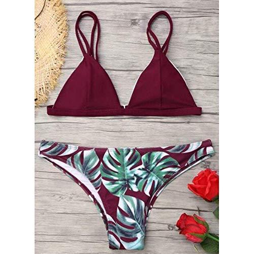 Conjunto de Bikini para Mujer con Estampado de Hojas, Acolchado Push-up y Acolchado, Traje de ba&ntilde para Mujer,Rojo Vino,X-Large