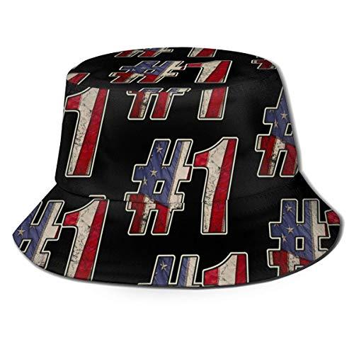 Chapeau de Seau utilisé Look Grunge USA # 1 écriture Drapeau Design Seau Chapeau Chapeau de Soleil Unisexe imprimé Chapeau de Voyage Pliable de pêcheur