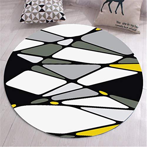Alfombra Pelo Corto Habitacións La Alfombrer Abstracción geométrica circular vellón de cristal jarapas negro blanco gris amarillo hermosa super suave La Alfombrers alfombras infantiles 100X100