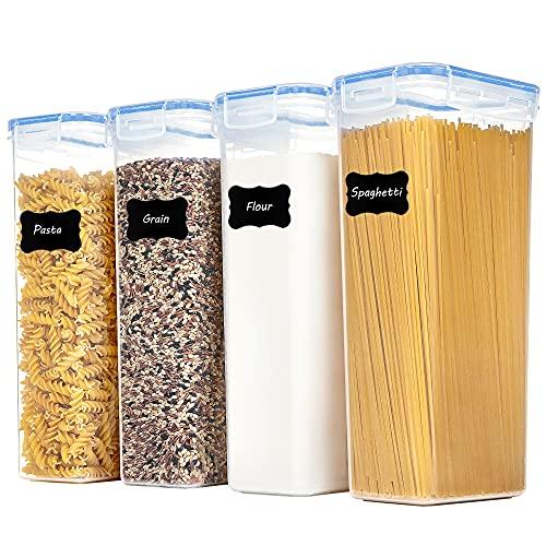 Vtopmart 2.8L Vorratsdosen Set, Müsli Schüttdose & Frischhaltedosen, BPA frei Kunststoff Vorratsdosen luftdicht,Trockenfutterbehälter, Satz mit 4, 24 Etiketten für Getreide, Mehl, Zucker usw