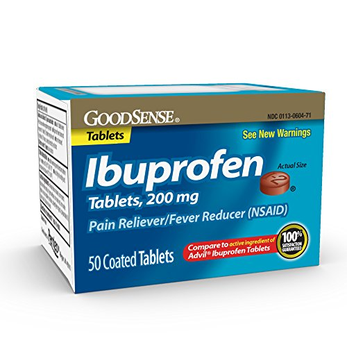 Good Sense Ibuprofen Tablets 200 mg, Pain Reliever/Fever Reducer, 50 Count