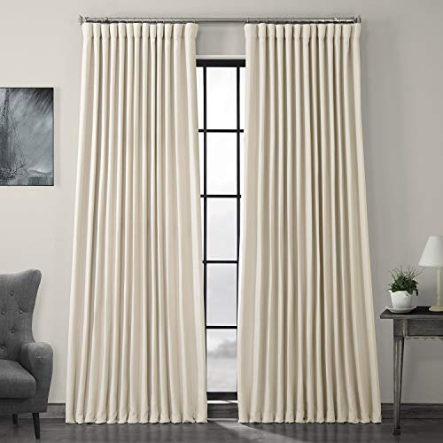 HPD Half Price Drapes BOCH-LN1856-84-DW Faux Linen Extra Wide Blackout Room Darkening Curtain, 100 X 84, Birch