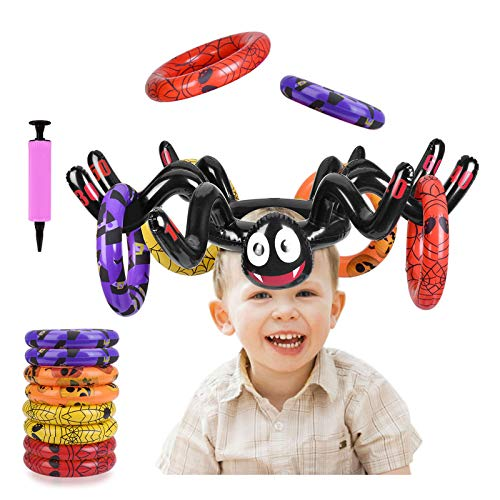 BULYPAZY Inflatable Spider Ring Toss Game, Perfect for Halloween Party Favors Toys Halloween Games Indoor Outdoor Activity(10PCS)