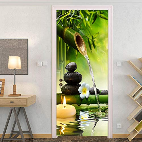 Fadesoue® 3D Türaufkleber - Zen Yoga Meditation Blume Grüner Bambus 77X200Cm - Pvc Selbstklebende Wasserdichte Abnehmbare Art Decals Für Dekoration Wandbild